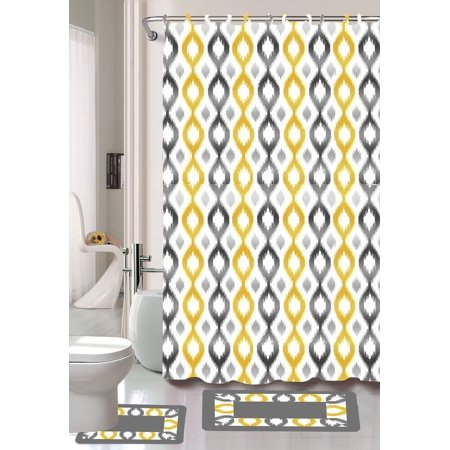 15pc KEENA YELLOW Bathroom Set Printed Banded Rubber Backing Rug Bath Mats With Fabric Shower Curtain And Covered Hooks