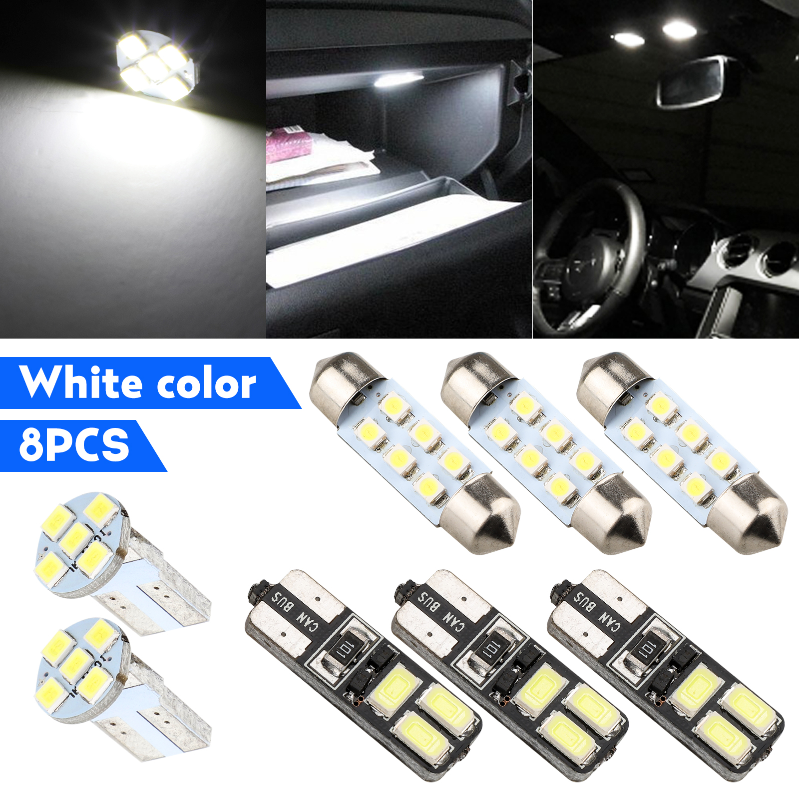 8x White LED Map Dome License Plate Light Interior LED Light Package For Car
