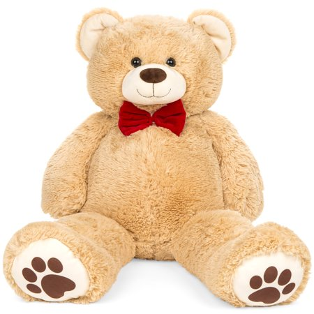 Best Choice Products 38in Giant Soft Plush Teddy Bear Stuffed Animal Toy w/ Red Bow Tie, Footprints - Brown