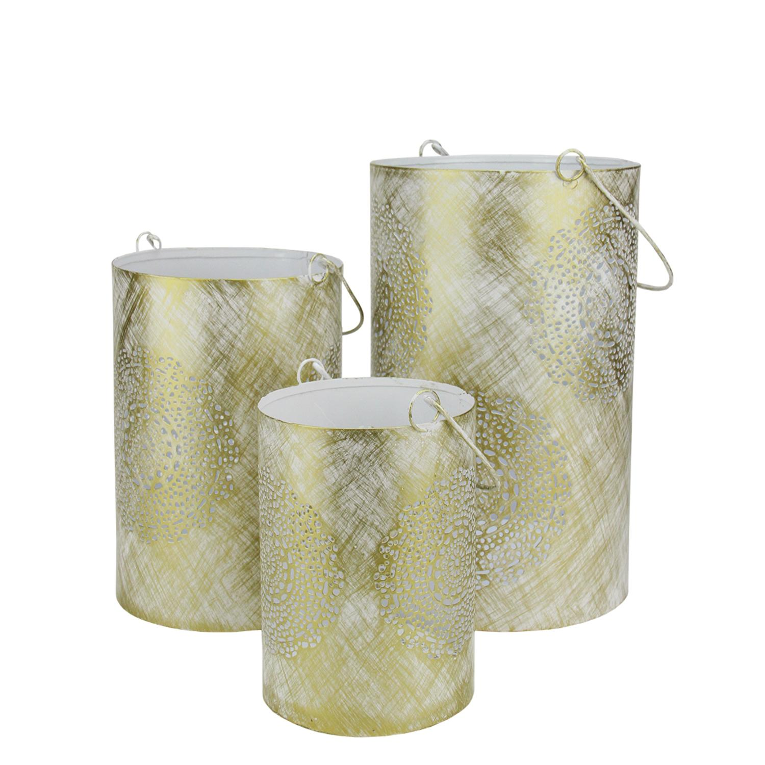"""Set of 3 White and Gold Decorative Floral Cut-Out Pillar Candle Lanterns 10"""""""
