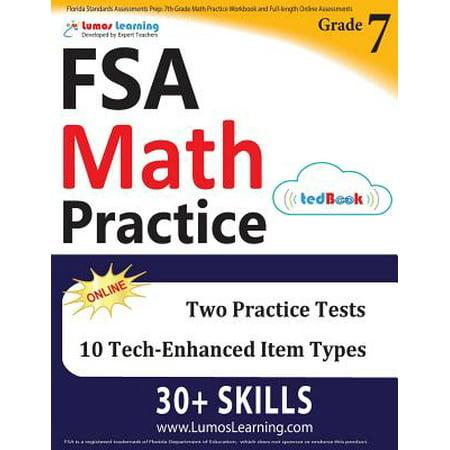 Florida Standards Assessments Prep : 7th Grade Math Practice Workbook and Full-Length Online Assessments: FSA Study