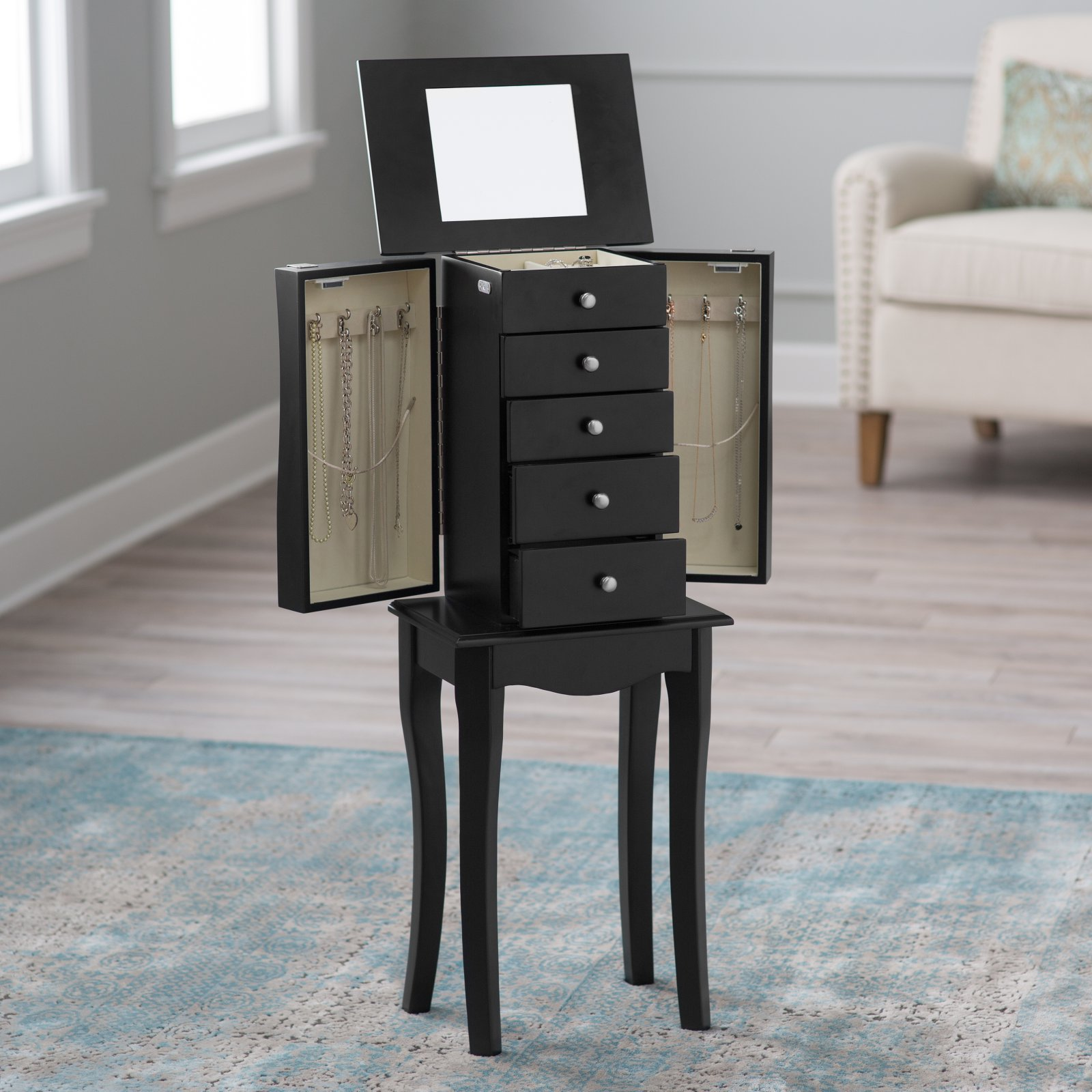 Finley Home Charlotte Black Jewelry Armoire