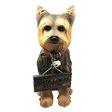 Pedigree Yorkie Yorkshire Terrier Figurine With Jingle Collar and Sign Patio Welcome Decor -