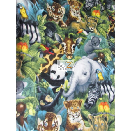 David Textiles Fleece Printed Fabric / Jungle Animals / Sold By The Yard