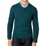 Tasso Elba NEW Solid Green Teal Pine Mens Size XL V-Neck Wool Knit Sweater
