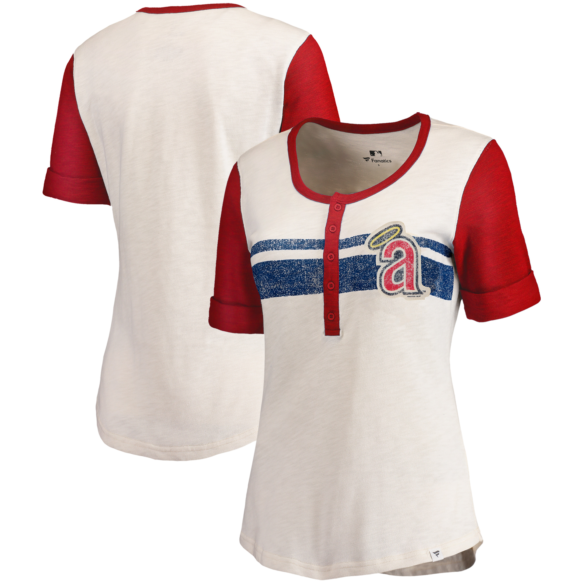 Los Angeles Angels Fanatics Branded Women's True Classics Henley T-Shirt - Cream/Red