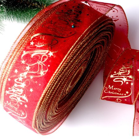Jeobest 2.5 x 78.7 inch Creative Christmas Ribbon Golden Edge Red Flower Printed Christmas tree decoration Ribbon Home Festive Evening Party Christmas Decoration Colorful Packing Belt MZ - Palm Tree Decorations For Party
