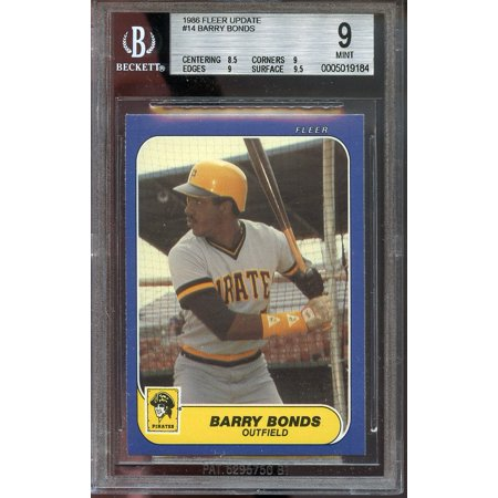 1986 fleer update #14 BARRY BONDS pittsburgh pirates rookie BGS 9 (8.5 9 9 (Barry Bonds Mint)