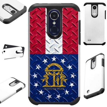 For Alcatel 7 Folio | T-Mobile Revvl 2 Plus Case Hybrid TPU Fusion Phone Cover (Georgia Flag Crosshatch)