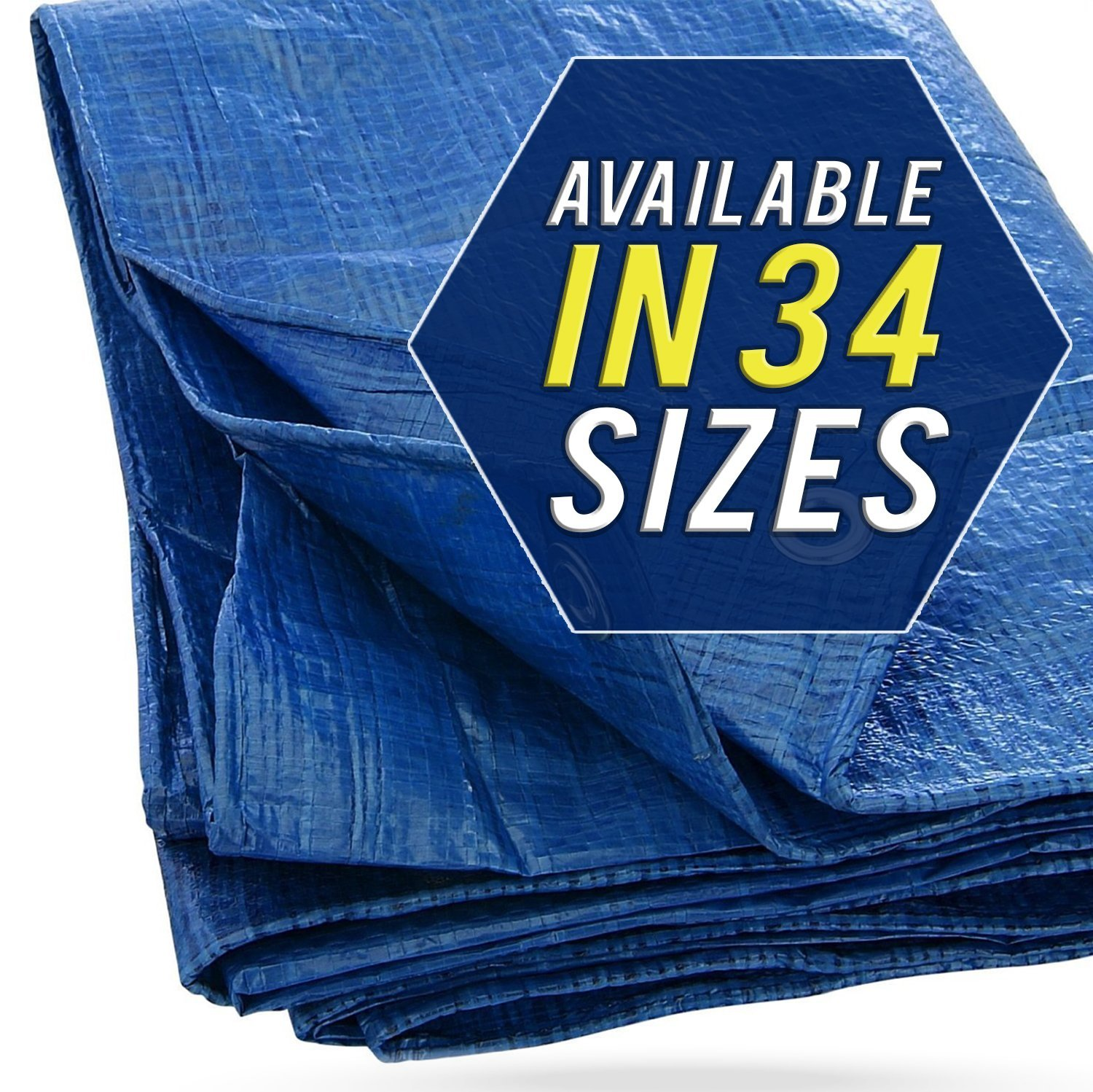 Heavy-Duty Poly Tarp with Grommets Secured Tie-Down Boats 20x20 Waterproof Tarp Cover 5mil Thick Cars and Trucks Outdoor Tarp for Pools P-LINE Large Blue Tarp Cover