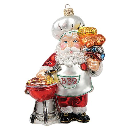 BBQ Barbeque Santa Polish Mouth Blown Glass Christmas Ornament Tree Decoration (Barbecue Decorations)