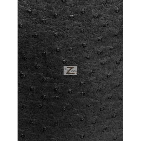 Vinyl Faux Fake Leather Pleather Embossed Ostrich Fabric / Black / Sold By The Yard - Faux Ostrich Skin