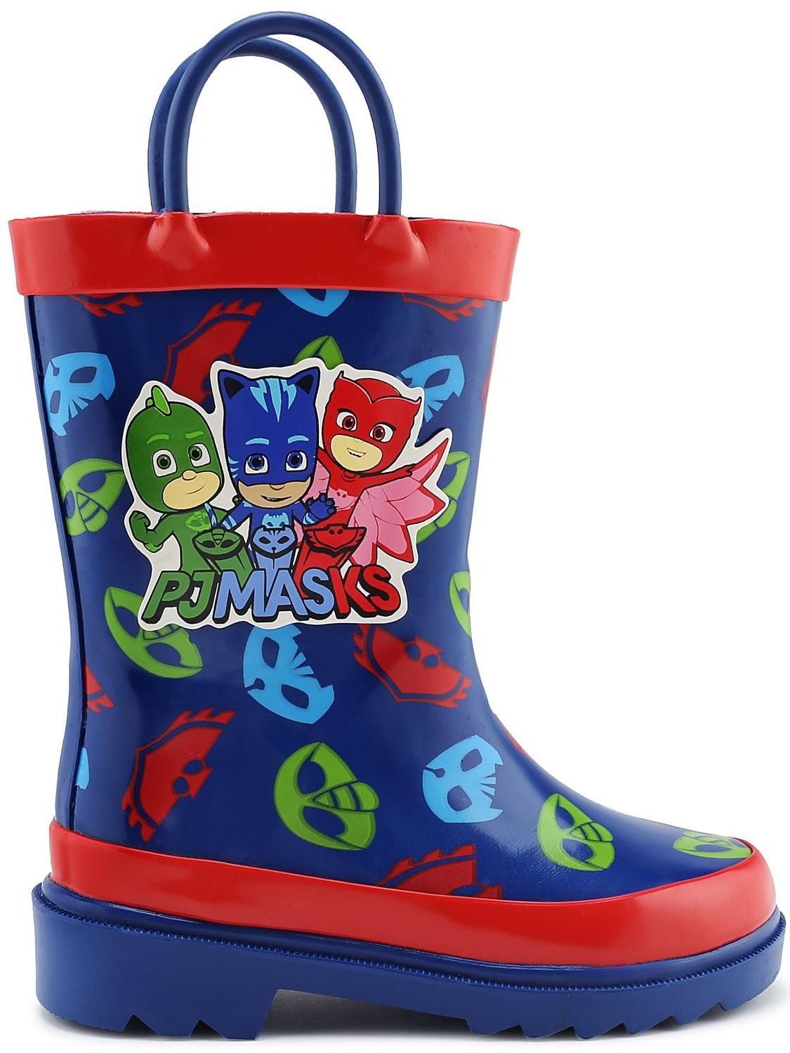 PJ Masks Little Boys Character Printed Waterproof Easy-On Rubber Rain Boots Toddler//Little Kids
