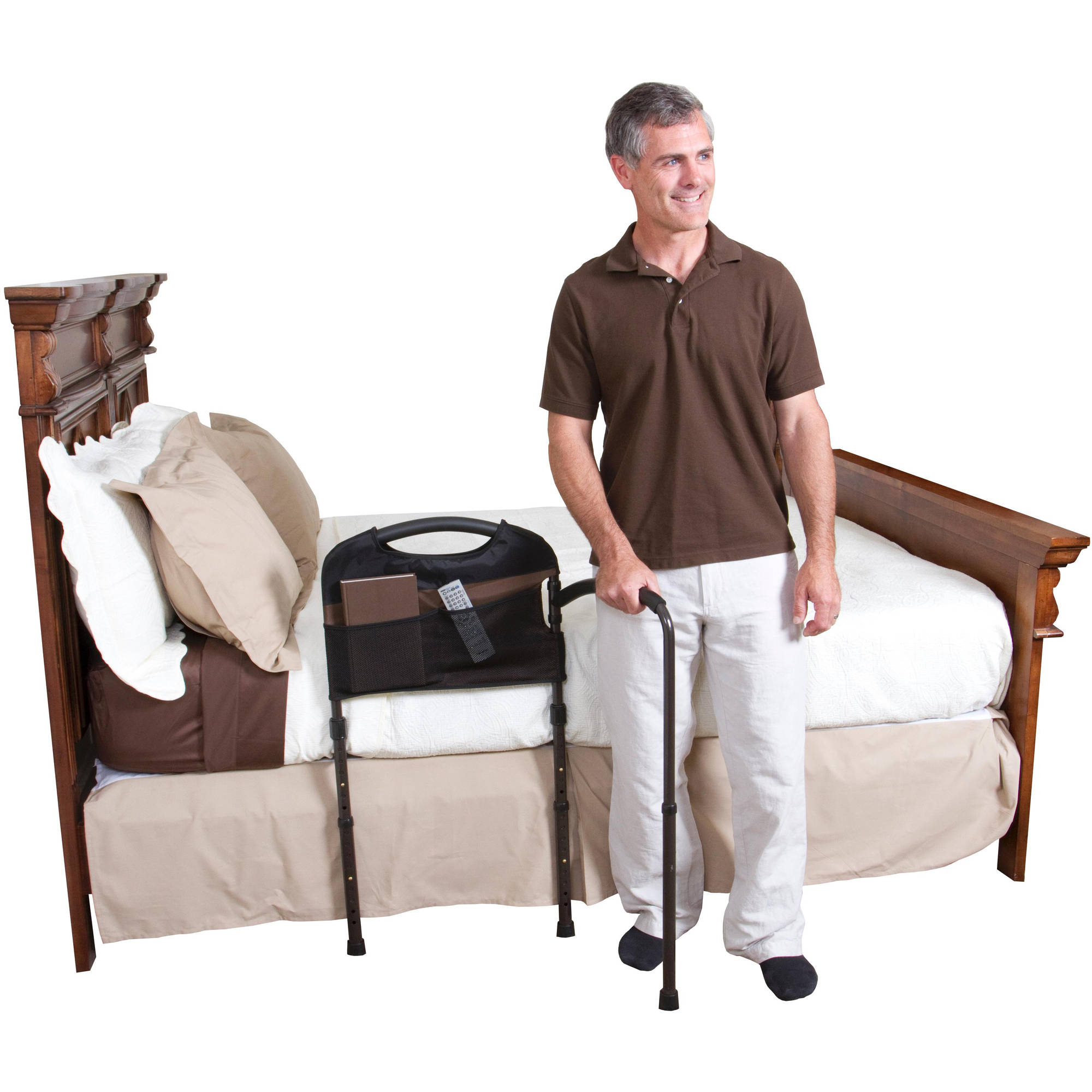 Stander Mobility Home Bed Rail - Adjustable Swing-out Hand Rail + Pouch