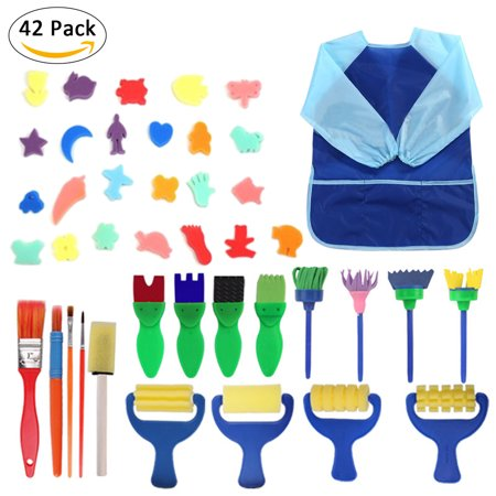 42 PCS Kids Seal Paint Graffiti Sponges Of Fun Paint Brushes Set For Toddlers, Sponge Brush Flower Pattern Brush+ Long Sleeve Waterproof Apron With 3 Roomy Pockets (Paint Brushes For Toddlers)