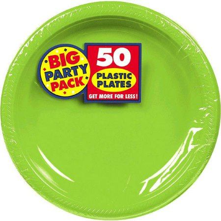 Big Party Pack Large 10 Inch Lunch Plastic Plates - Kiwi - Green Lunch Plates