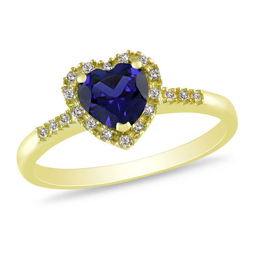 Amour Yellow Silver Heart Cut Sapphire Multi Stone Ring