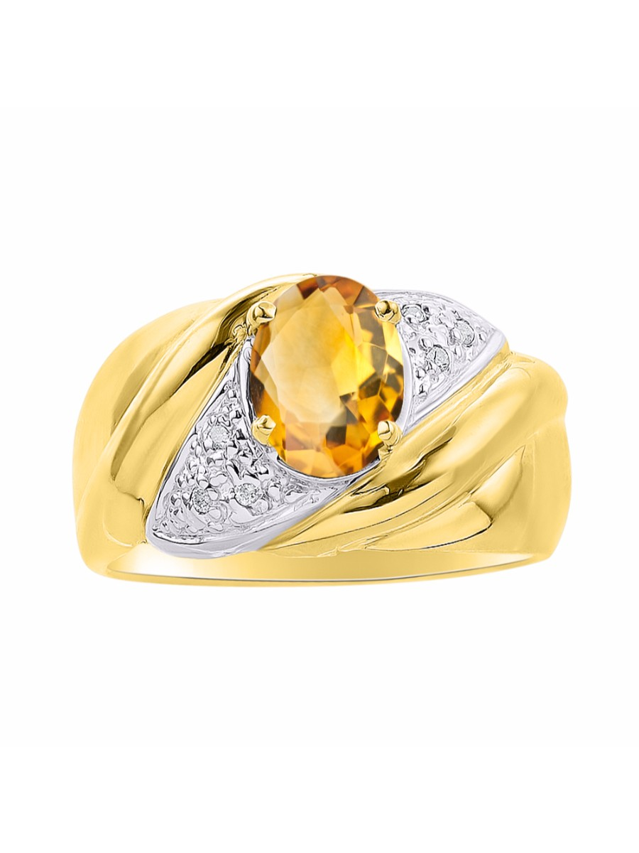 Diamond & Citrine Ring Set In Yellow Gold Plated Silver Color Stone Birthstone Ring DSL-LR6787CTY by Rylos