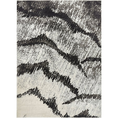 Abstract Marble - Well Woven Hughes Felize Modern Abstract Marble Grey 5'3