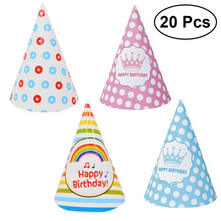 20 pcs Sparkle Birthday Cone Hat Princess Prince Crowns Party Decorations for Girl and Boy (5pcs Pentagram, 5pcs Music, 5pcs Blue Crown and 5pcs Pink Crown) - Prince And Princess Party
