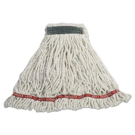 Swinger Loop Shrinkless Mop Heads, Cotton/synthetic, White, Medium,