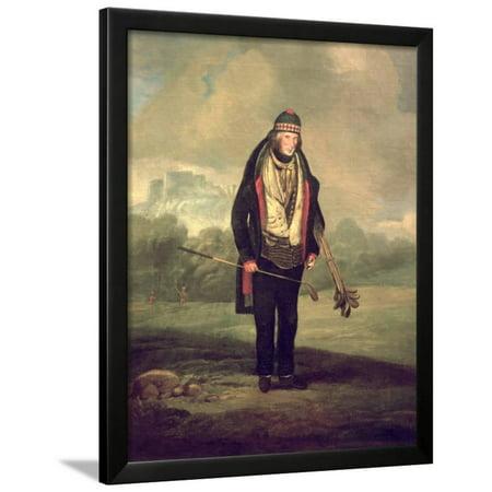 Caddie Willie at Bruntsfield, Edinburgh, 1824 Framed Print Wall Art By C.H Robertson