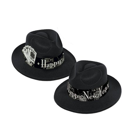 "Club Pack of 25 Casino Silver Fedora ""Happy New Years"" Legacy Party Favor Hats"