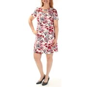 KENSIE Womens Ivory Cut Out  Zippered Floral Short Sleeve Jewel Neck Above The Knee Shift Party Dress  Size: L