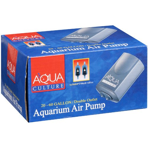 Aqua Culture: 20-60 Gallon, Double Outlet Aquarium Air Pump, 1 Ct