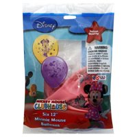 """Set of 6 Disney Minnie Mouse 12"""" Assorted Color Balloons"""