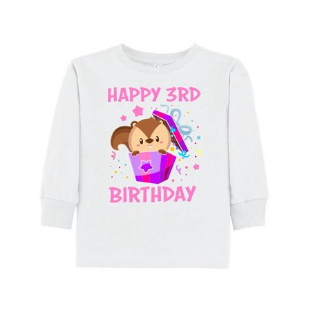 Happy 3rd Birthday With Squirrel In Present Toddler Long Sleeve T Shirt