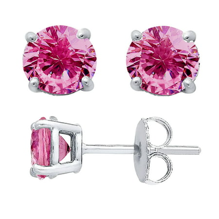 4 Prong Basket 5.25mm Round Pink CZ Earring Sterling Silver - Ecoat