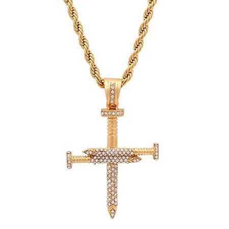 Men's Gold Tone Stainless Steel Cubic Zirconia Nails Cross Pendant](Nail Crosses)