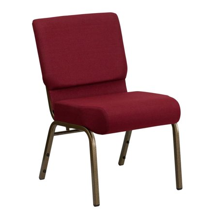 21''W Stacking Church Chair in Burgundy Fabric - Gold Vein -