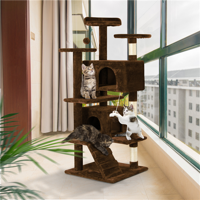 Yaheetech 51-in Cat Tree & Condo Scratching Post Tower, Beige