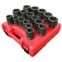 "17 Piece 3/4"" Drive 6 Point Heavy Duty Metric Impact Socket Set"