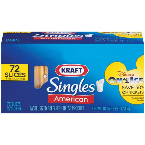 Kraft Singles American Slices 72 ct Cheese, 48 oz
