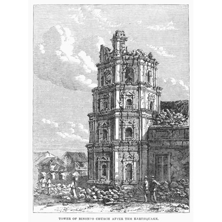 Manila Earthquake 1863 Ntower Of The Binondo Church At Manila Philippines After The Earthquake Of 1863 Contemporary Wood Engraving Rolled Canvas Art     18 X 24