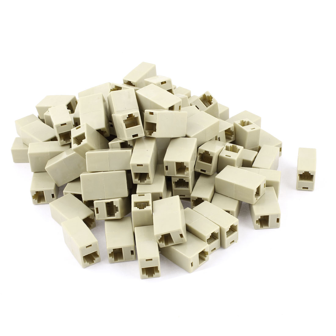100 x Beige 8P8C RJ45 Female Socket Cat5 Network Cable Joiner Adapter Couplers