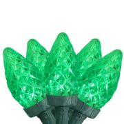 Brite Star 100ct Faceted Transparent LED C7 String Lights Green - 33.5' Green Wire
