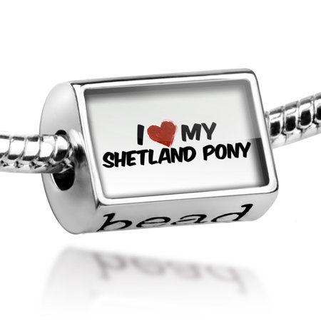 Bead I Love my Shetland pony, Horse Charm Fits All European - Pony Bead Bracelets