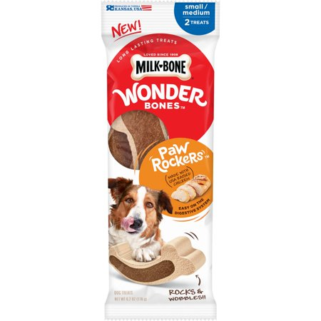 Milk-Bone Wonder Bones Paw Rockers with Real Chicken, Long Lasting Dog Treats, Small-Medium, 6.2 (Paw Print Dog Bones)