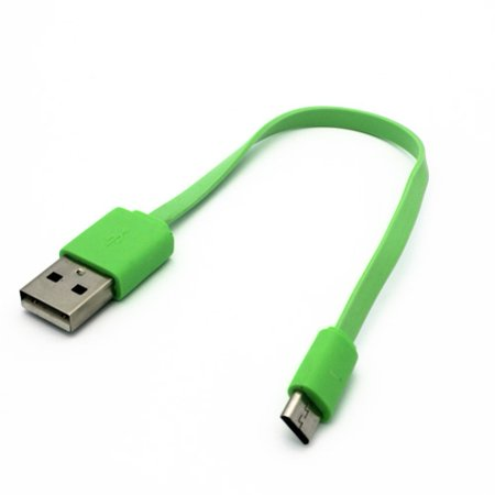 Green Short Flat USB Cable Compatible With Motorola Moto E5 Play E4 PLUS, G4 Plus, Droid Turbo 2 Maxx 2 - Samsung Google Nexus 10, Galaxy TabPRO 8.4 12.2 10.1 SM-T520 Tab S2 NOOK 8.0 (SM-T710) ()