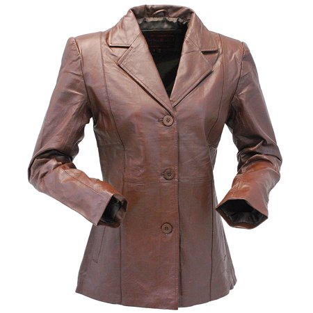Burton Brown Jacket (Brown Lightweight Women's 3 Button Leather Coat #)