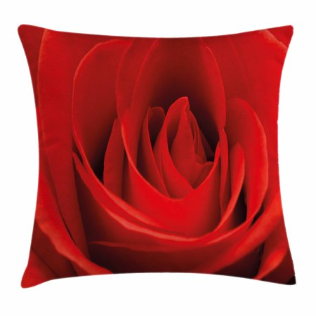 Couple Themes (Rose Throw Pillow Cushion Cover, Close Up Macro of a Red Rose Bloom Fresh Natural Beauty Valentine's Day Couples Theme, Decorative Square Accent Pillow Case, 16 X 16 Inches, Vermilion,)