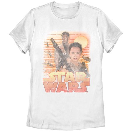 Star Wars The Force Awakens Women's Classic Rey and Finn T-Shirt