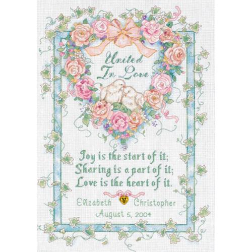 "United In Love Wedding Record Counted Cross Stitch Kit-10""X14"""