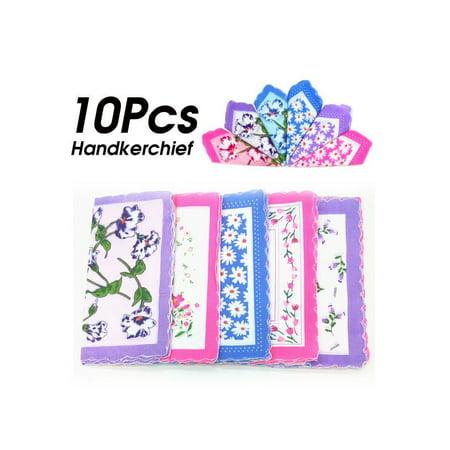 10pcs/Set Cotton Handkerchief Vintage Ladies Women Pocket Floral Flowers Quadrate Hanky Hankies Christmas (Christmas Handkerchief)