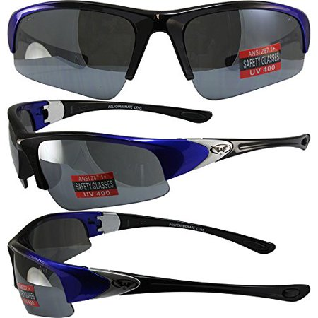 Safety Sunglasses (Global Vision Cool Breeze 2 Safety Sunglasses Blue and Black Frames Flash Mirror Lenses ANSI)