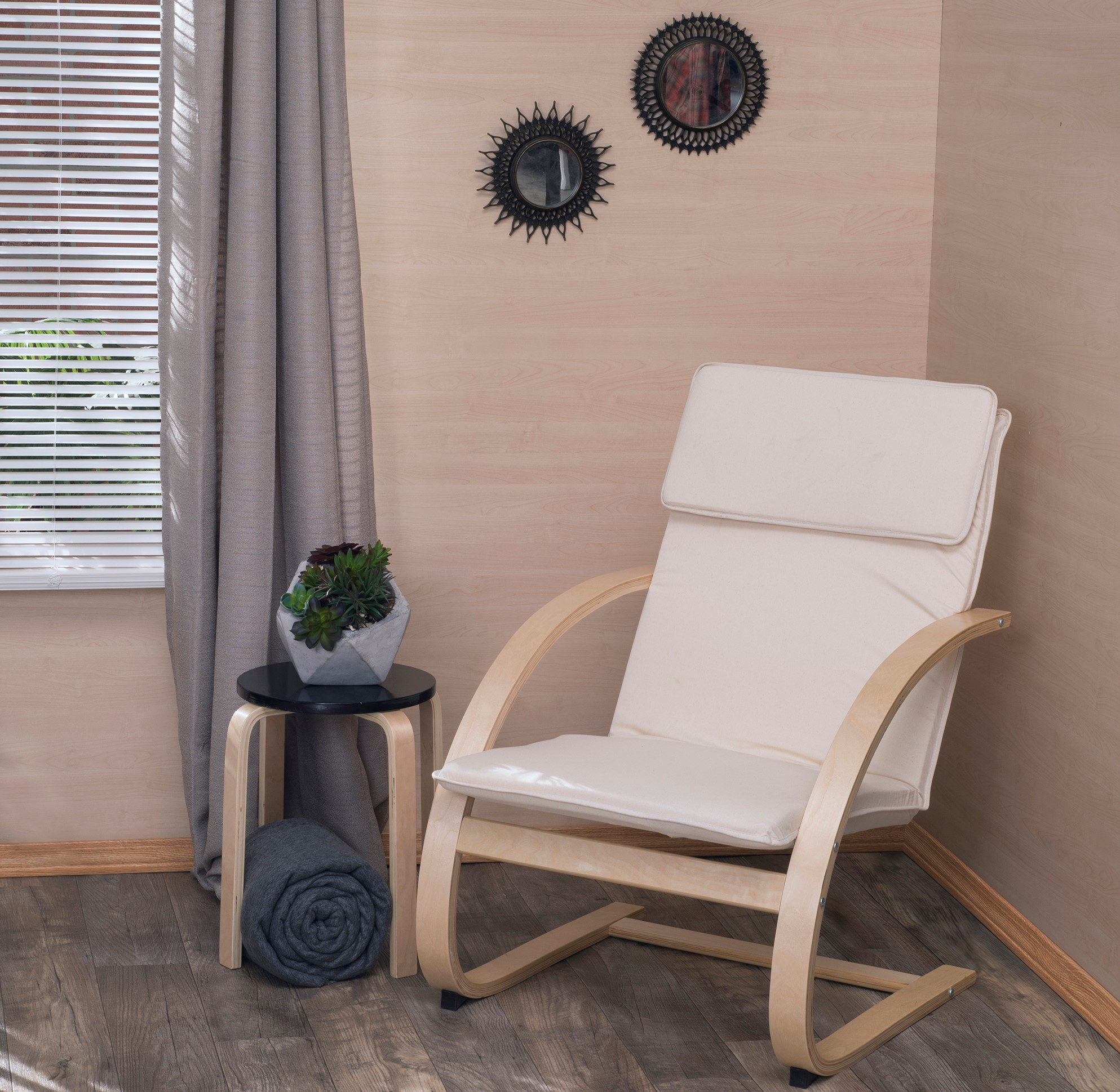 Mia Bentwood Reclining Chair- Natural/ Beige